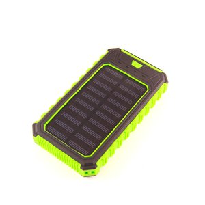 Portable Solar Charger 10000 mAh (2×USB, IP65, green)