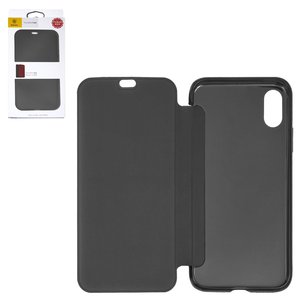 Case Baseus compatible with iPhone X, (black, matt, flip, silicone, plastic) #WIAPIPHX-TS01