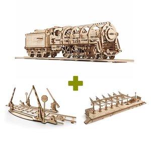 Механический 3D-пазл UGEARS Набор 3 в 1: Локомотив + Рельсы + Перрон